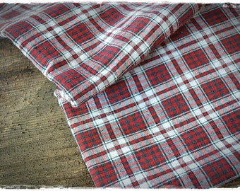 linen fabric french kelsch antique red/white/blue, pattern woven, check gingham fabric