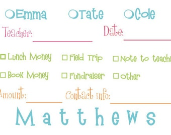 Personalized school money envelopes, set of 20, Child/childrens names