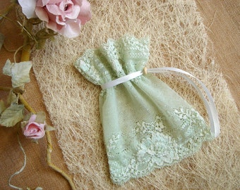 Mint  Favor Bags,Baby Shower Favor, Baby Christening Bags, Vintage Lace Favor Bags