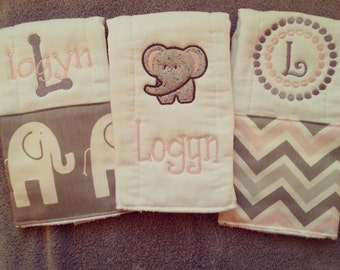 Personalized baby girl burp cloths -elephant, baby gift