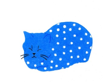 Cat Gift Cards - Blue Spotted Cat - Set of 4