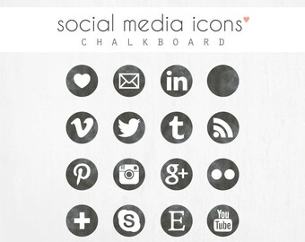 "social media icons + ""pin it"" button: CHALKBOARD"