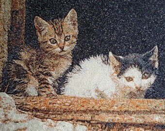 Embroidered Kittens, wall art.