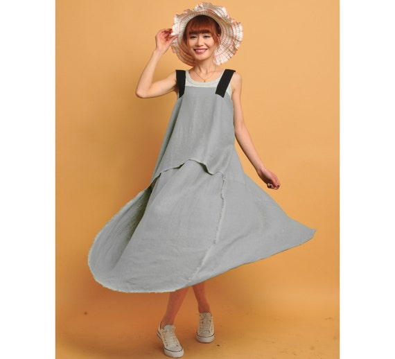 linen maxi dress --- green dress linen cotton maxi dress long dress vest dress