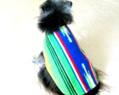 Fleece Small Dogs' Coat Made to Order - Mexican Serape Stripes in Bright Red, Green, Yellow, Blue, Black & White Yorkie