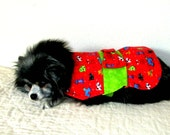 "Small Dog's Dress Pomeranian - Flannel Made to Order Multi ""Canine Frolic"" Print on Red with Lime Inset Topped w/Big Bow"