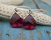 Gorgeous Rasberry Colored Set of Sterling Silver Magenta Swarovski Crystal Dangle Earrings with Leaf Bail and Ear Wire