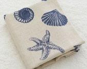 Large Blue Shell Conch Starfish Marine Animal On Natural Tan Linen Cotton Fabric- 1/2 yard