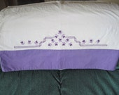 Set of Two Vintage Handmade and Hand-Embroidered Purple and White Pillow Cases RESERVED