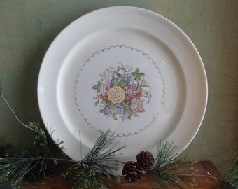 Paden City Pottery Made In Usa Flowered Dinner Plate