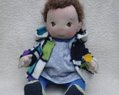 "Fretta's Peanut Baby Girl 18"" / 46 cm. Curly Light Brown Hair / Brown Eyes. All Natural Soft Sculptured Jointed Baby, Child Safe Cloth Doll"