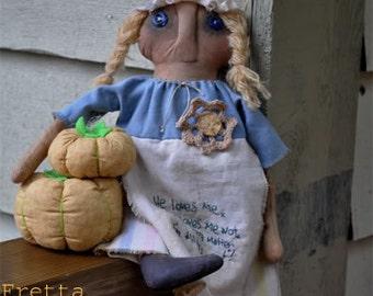 SALE! Hand stitched all natural Grungy Folk Art Doll. Primitive doll. Folk Doll, Child Friendly Rag Doll.