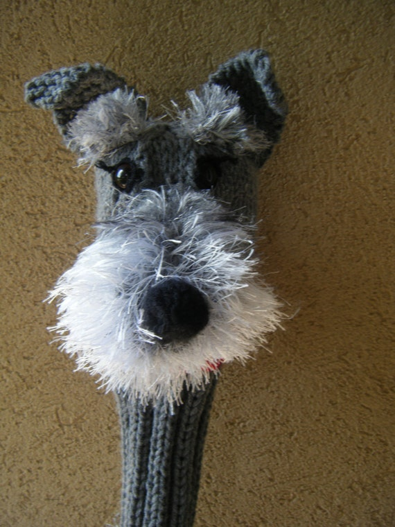 Knitting Pattern Golf Driver Cover : Hand knit Schnauzer golf club cover by karenshines on Etsy