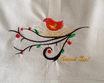 "Scandinavian Bird ""Good Jul""  Embroidered 100% Cotton Kitchen Flour Sack Towel"