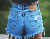 High waisted Denim Shorts Destroyed Ripped Jeans Vintage Cut Off Retro Grunge MADE TO ORDER
