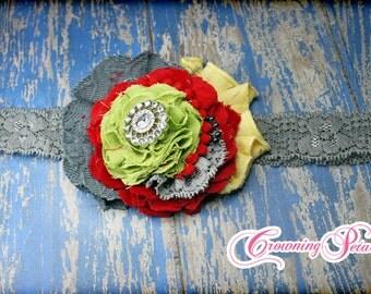 Red, Grey, Lime Green, M2M Giggle Moon Dance for Joy Headband, Giggle Moon Hair Bow, Fabric Flower Headband, Gray Hair Accessory, Hair Clip
