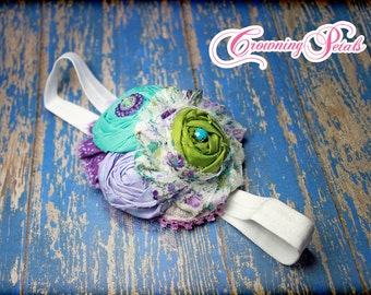 Purple, Lime Green, Turquoise Headband, M2M StellyBelly, Purple Paisley Smocked, Aqua, Lavender Hair Piece, Flower Hair Clip, Hair Accessory