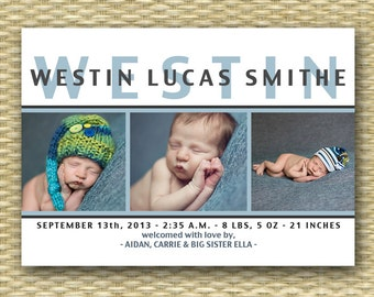 Birth Announcement Baby Announcement Baby Boy Announcement Baby Girl Announcement 3 Photo Layout Modern Typography, ANY COLORS