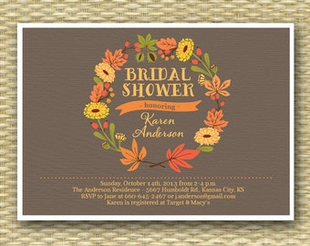 Bridal Shower Invitation Rustic Fall Wreath Autumn Shower Fall Shower Invitation Couples Shower - Any Event ANY COLOR