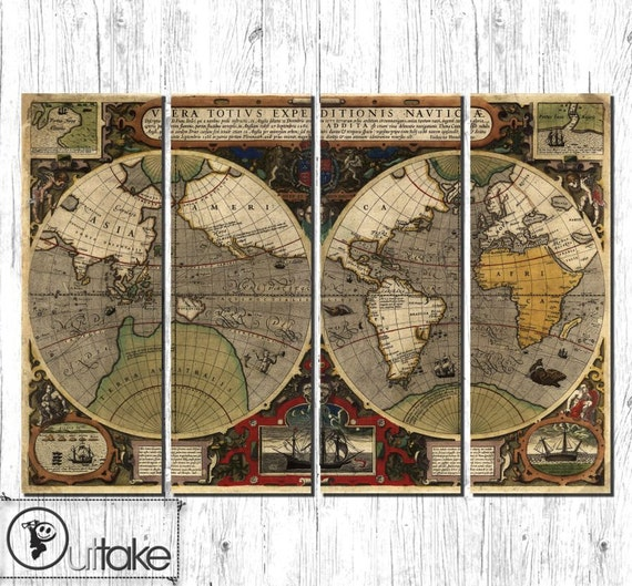 Large Vintage Wall Decor : Vintage world map large canvas wall decor ready by