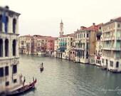 Venice grand canal photo, gondola, romantic vintage image, Architecture, Italy BW travel photo, waterway,  nautical art, Christmas