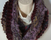 Knit Cowl Hoodie Burgundy,Lavender, Stripes With a Copper Sparkle