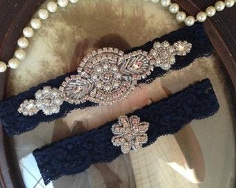 SALE-Wedding Garter-Navy Blue Lace Garter Set - Rhinestone Garter - Applique Garter - Vintage - Bridal Garter - Vintage Garter - Toss Garter