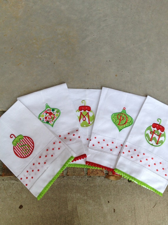 items similar to monogramed christmas linen hand towels on etsy