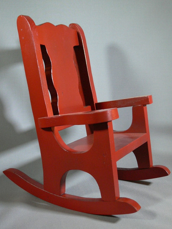 Red Rocker - Rocking Chair - Child - Doll - Wood - Painted - FS-348