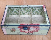 Handmade Tea box with 6 sections - 22x15x7.5cm - plexiglass lid, Jewelry, Organizer