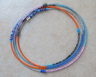 Kaleidoscope Dream - Double Strand Wrap Waistbeads - Orange, Blue, Pink, Turquoise, Fuchsia, & Gray waist beads, sterling silver clasp