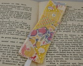 Embroidered and appliqued Bookmark - crazy patchwork inspired - yellow