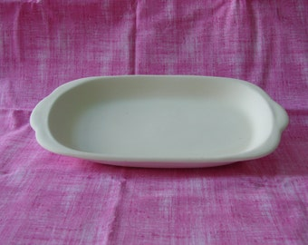 "Lg Serving plate 6""x11 1/2""-unfinished, fired, completed"