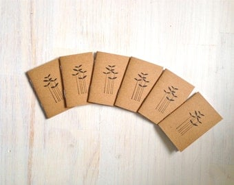 Tiny Journals: Notebooks, Leaves, Reeds, Grass, Brown, Favors, Small Notebooks, Unique, Gift, Stocking Stuffer, For Him, For Her