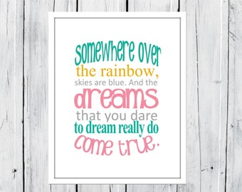 Nursery Decor Print -  Somewhere over the Rainbow -  Choose your Size and Colors