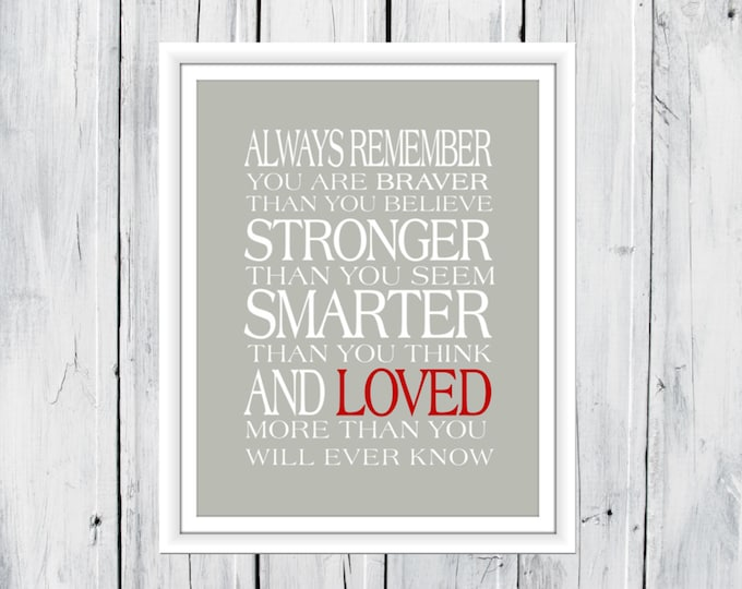 Always remember...You Are Braver Print - Custom Sizes and Colors