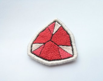 Coral Embroidered Patch Gem Patch - Bright Geometric Brooch Applique