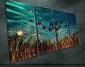 "Large Original Metal Wall Art  Modren Abstract Painting Sculpture  Indoor Outdoor  Decor ""The Blooming Flowers"" by Ning"