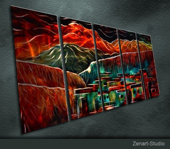 """Large Original Metal Wall Art Modern Abstract Painting Sculpture Indoor Outdoor Decor """"Quiet Life"""" by Ning"""
