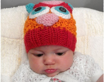Girly Owl Knitted Hat - Newborn girl knit hat