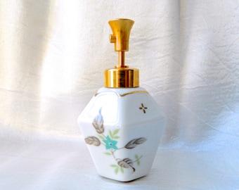 Vintage DeVilbiss Perfume Bottle Porcelain Atomizer Forget Me Nots  Working Pump Spray Vanity