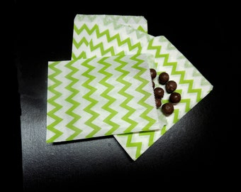 25 Lime Chevron 5x7 inch Treat Bags, Striped Food Gourmet bags, Goody bags, Wedding Party Favor Colored Candy Bags, Food safe Cute Bags