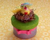 Yellow Bird Sculpture ~ Keepsake ~Jewelry ~ Trinket Box ~ Customizable & Handmade to Order ~ Mrs. Dee's Nesting Sunshine Sculpture ~ SOLD