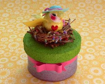Yellow Bird Sculpture ~ Keepsake ~Jewelry ~ Trinket Box ~ Customizable & Handmade to Order ~ Mrs. Dee's Nesting Sunshine Sculpture ~ SOLD