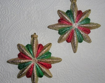 Vintage Christmas Ornaments - Two Plastic Stars, Glitter Plastic Ornaments, Red Green Gold