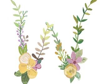 W - Floral Letter Illustration - Floral Typography Print