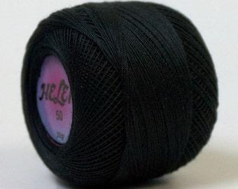 100% Mercerised Black Cotton yarn, crochet, tatting, thread 20g/250m