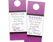 Wedding door hanger, personalized do not disturb wedding itinerary for hotel guests favor with elegant flourish modern design