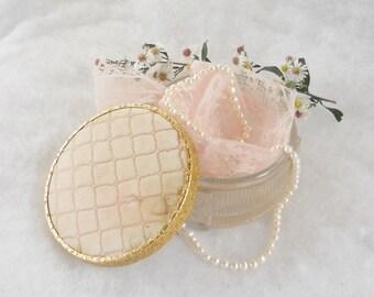 Vintage French Shabby Chic Glass Powder Jar