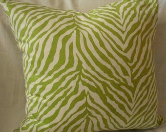 Pillow cover Lime Green Zebra Pillow Cover 18 x 18 Decorative Pillow, Throw Pillow, Toss Pillow